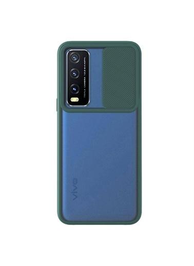 Microsonic Vivo Y20 Kılıf Slide Camera Lens Protection Kırmızı Yeşil